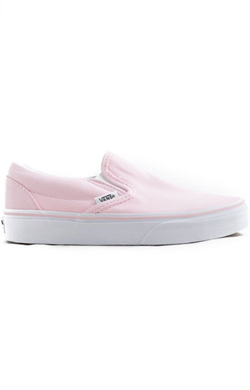 Vans Womens, Classic Slip-On Shoe - Ballerina/White | PINK IS THE ...