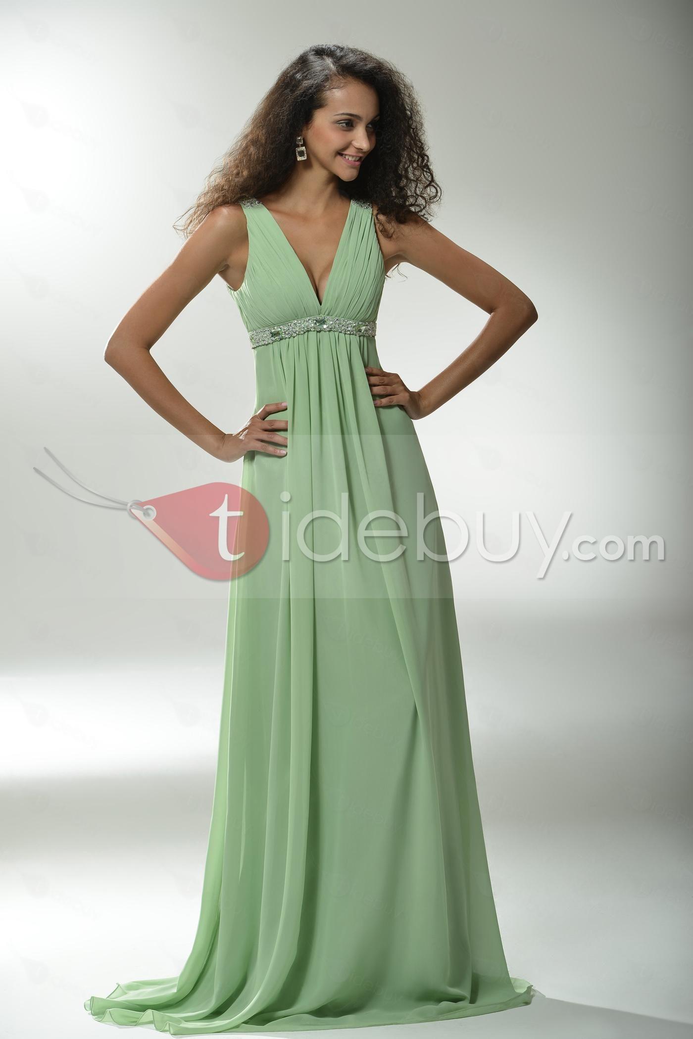 優雅なAライン床長さVネックプロム/イブニング·ドレス