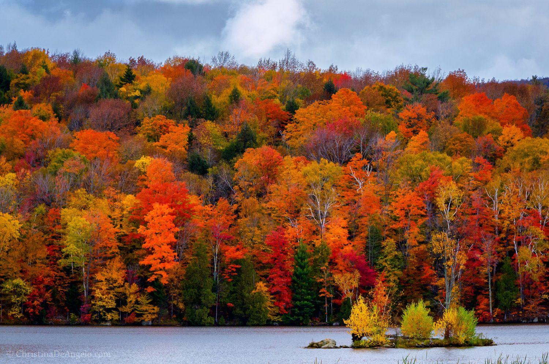 Autumn at Kent Pond in Killington, Vermont The still ...