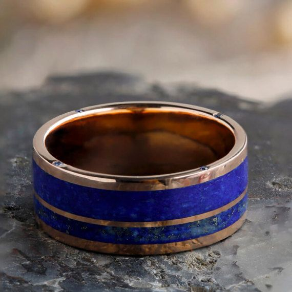 Lapis Lazuli And Sapphire Men S Wedding Band In Rose Gold Etsy Blue Sapphire Wedding Band Engagement Rings Sapphire 14k Rose Gold Ring