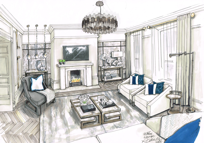 Lounge Design Visual Interior Design Sketches Interior Design Drawings Interior Design Art