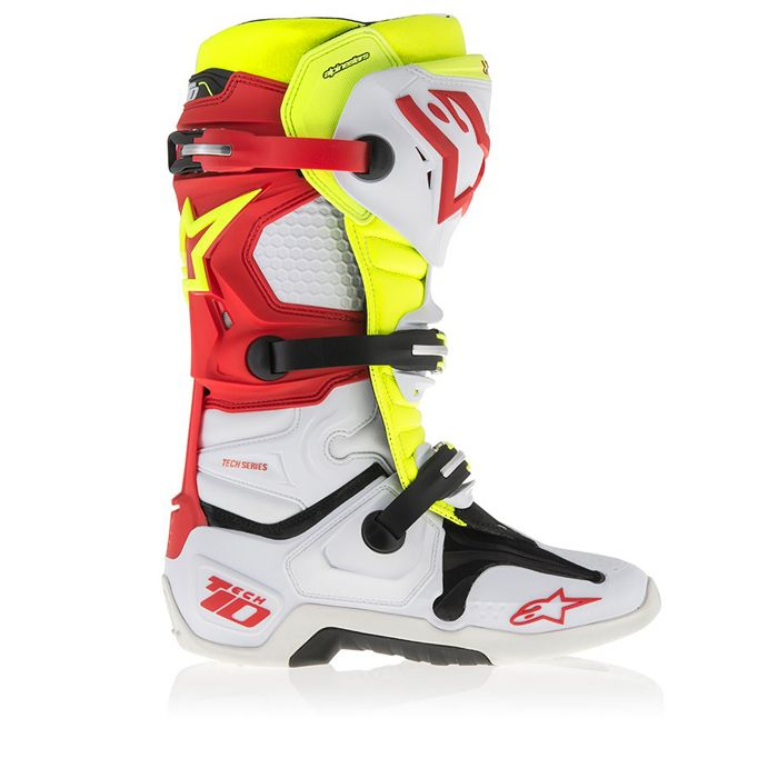 bottes motocross alpinestars tech 10 blanc rouge jaune fluo bottes tech 10 white red yellow. Black Bedroom Furniture Sets. Home Design Ideas