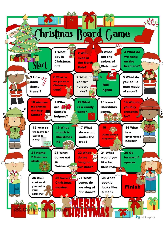 Christmas Boardgame Christmas worksheets, Christmas