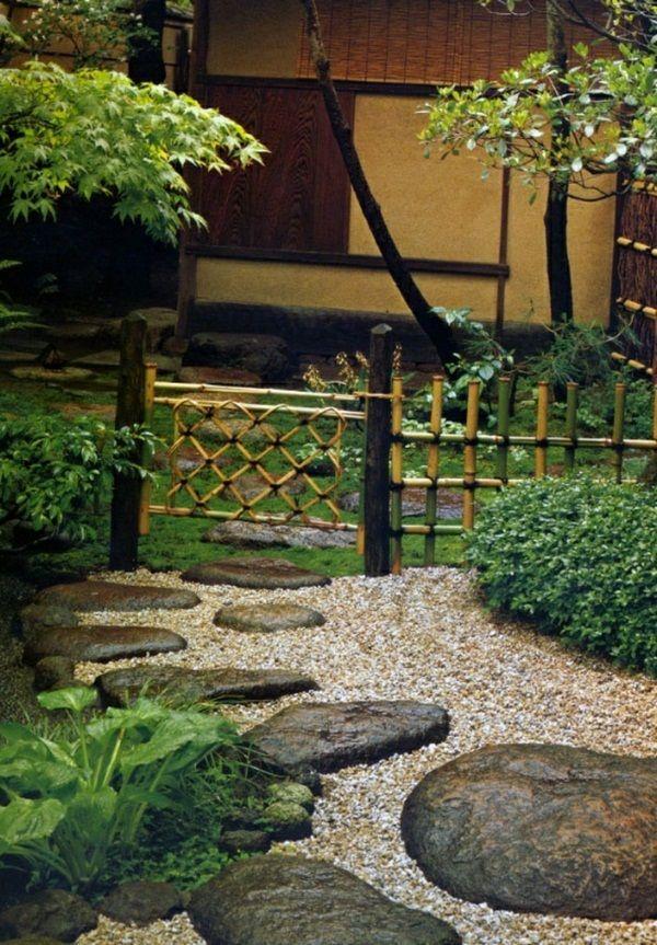 Chemin De La Porte De Jardin Zen Bambou Cloture Tremplins