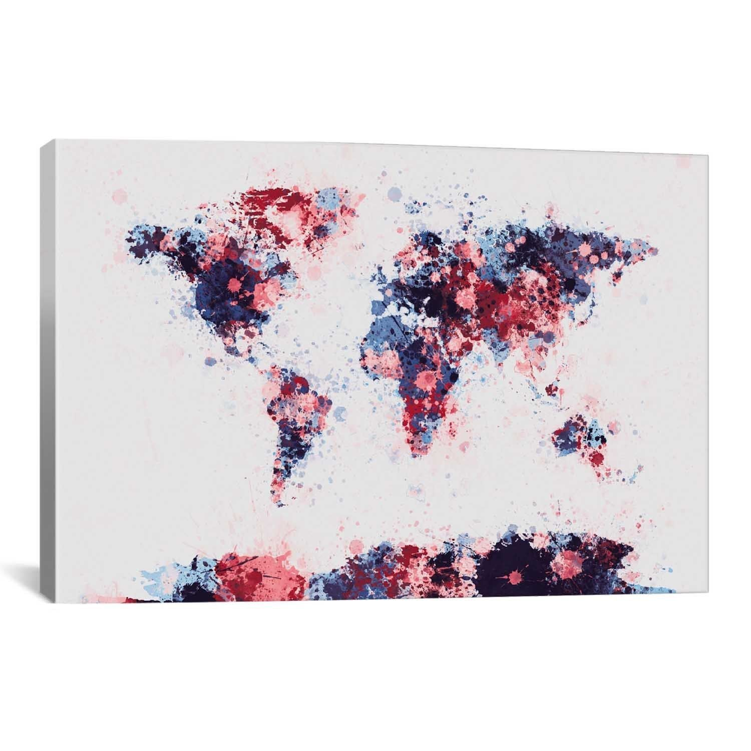 Icanvas michael thompsett world map paint drops ii canvas print wall art