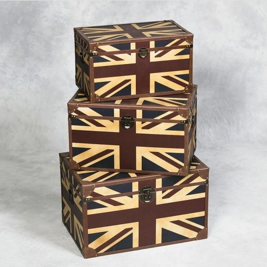 Attractive Set Of 3 Antiqued Union Jack Trunks 10% Off On All Our Products At The Good Looking