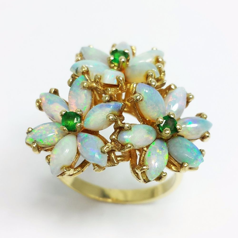14K Yellow GOLD Marquise OPAL Flower Cluster Cocktail RING Round cut Emeralds