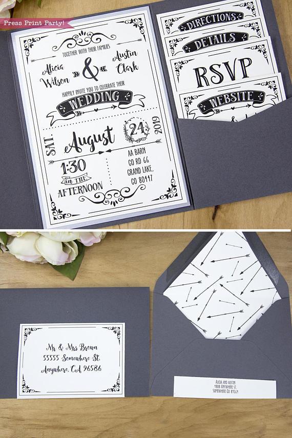 Wedding Invitation Template Printable Set Wedding Invitation Etsy Wedding Invitation Templates Rustic Etsy Wedding Invitations Pocket Wedding Invitations