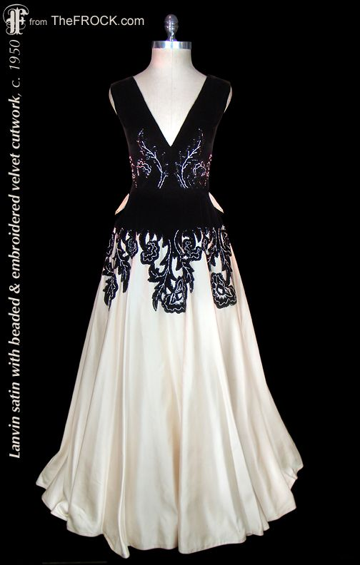 Vintage Lanvin black velvet and ivory satin evening gown; 1940s / 1950s french couture dress. (While the garment is available, details and more photos are found on our website at www.thefrock.com )
