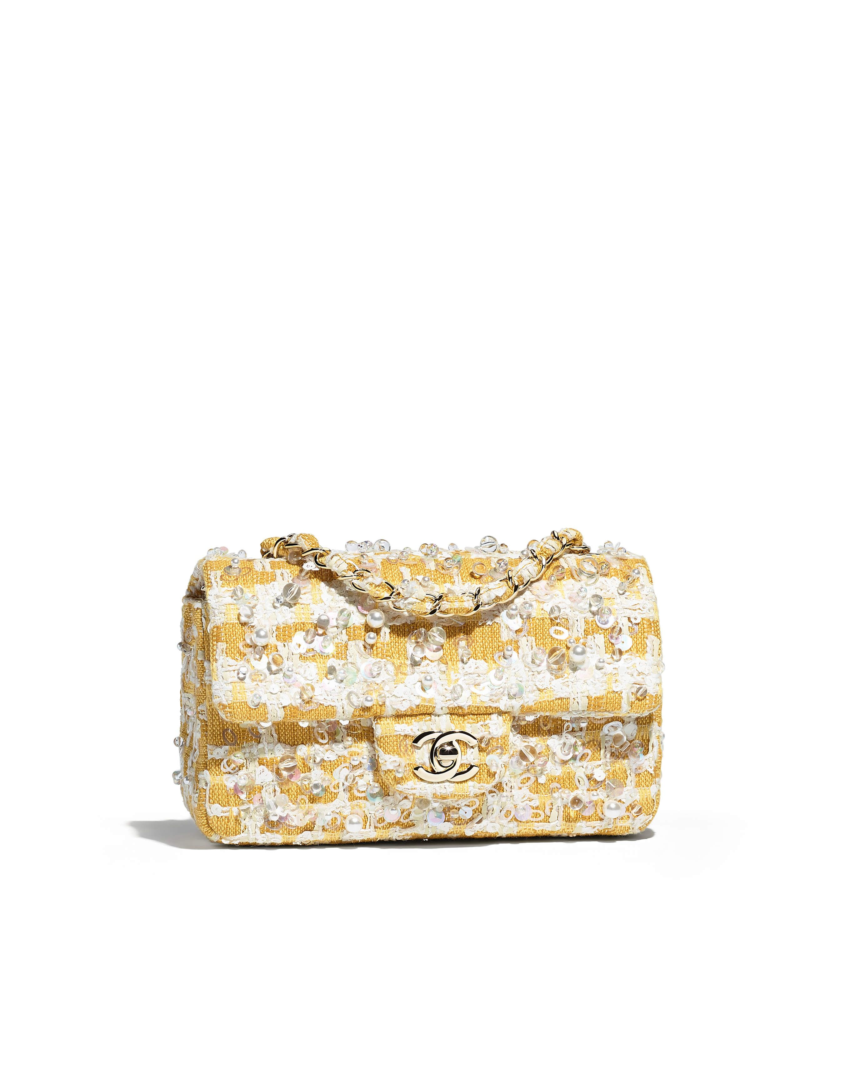 d3411005721b33 Mini flap bag, embroidered tweed & gold-tone metal-yellow & white - CHANEL