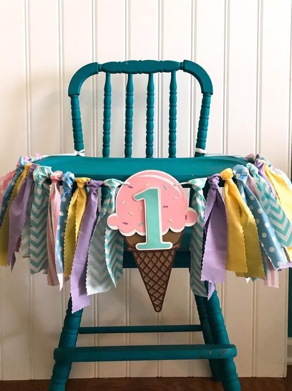 Eiswaffel Ribbon Banner Eiswaffel Hochstuhl Banner Eis erste Geburtstagsfeier Ice Cream Party Dekor Ice Cream Rag Garland  Addies Birthday