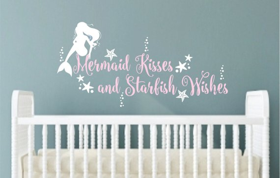 Mermaid Wall Decal Kisses Starfish Wishes Vinyl