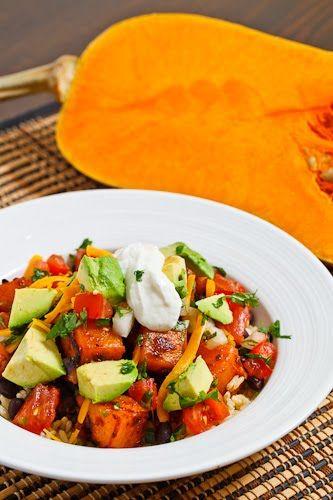 Chipotle Butternut Squash and Black Bean Burrito Bowl with Avocado