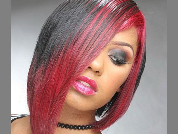 Asymmetrical Hairstyle 25 Awesome Black And Red Hairstyles Hair Styles Bob Hairstyles Black Red Hair