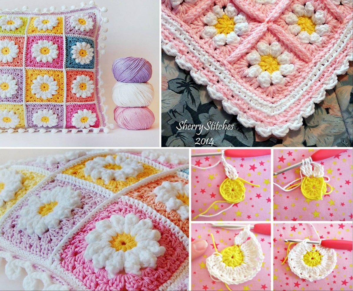 Crochet Daisy Granny Square Pattern Youtube Video | Crochet daisy ...