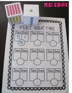 Place value game where students roll the dice to make the base 10 block numbers then write how many tens, ones, and the number