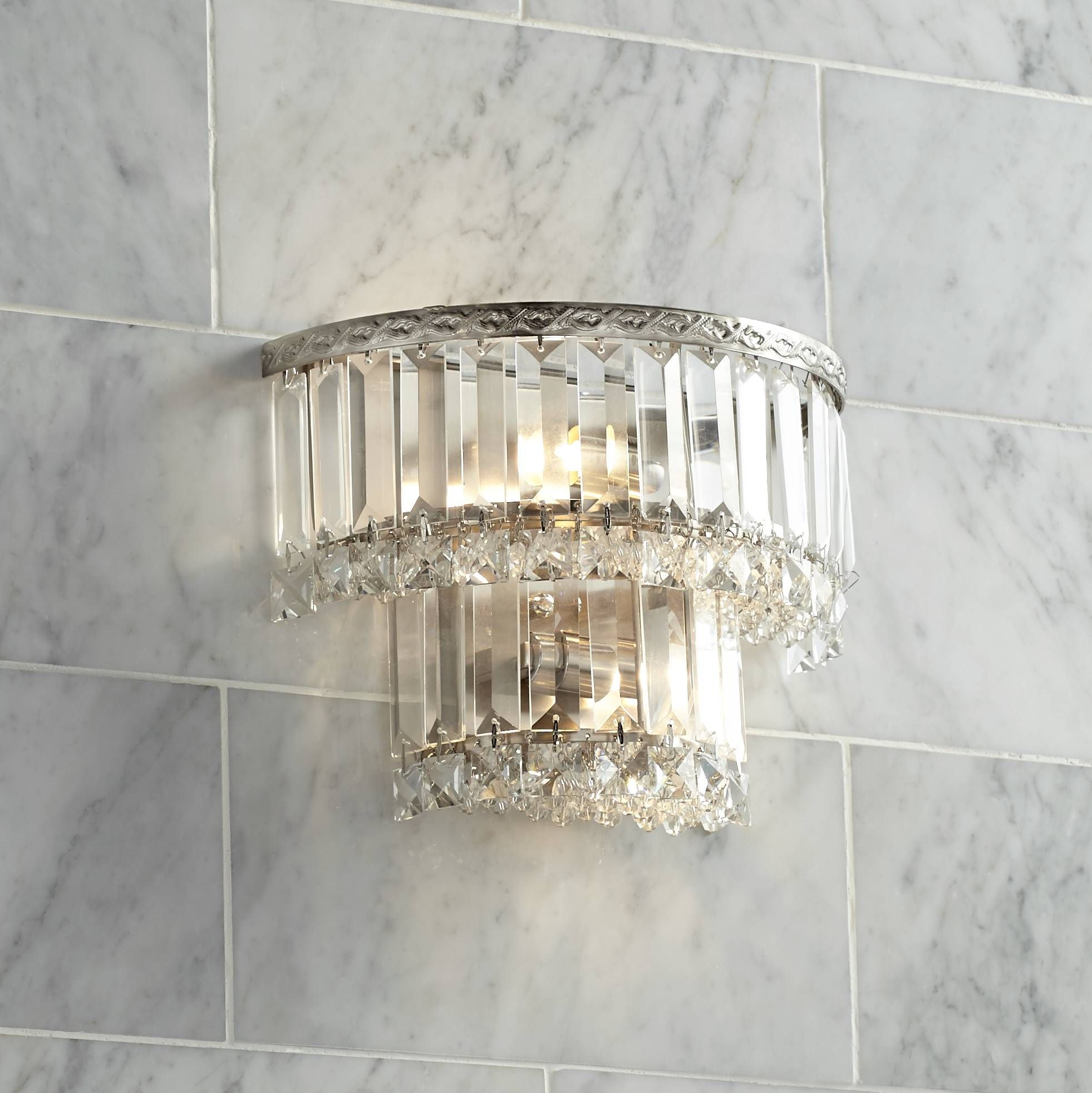 Magnificence Satin Nickel 10 Wide Crystal Wall Sconce Wall