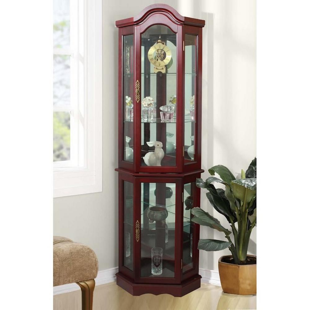 Floor Standing Cherry 5 Sided Lighted Curio Cabinet Fscc702115c Corner Curio Curio Cabinet Glass Shelves