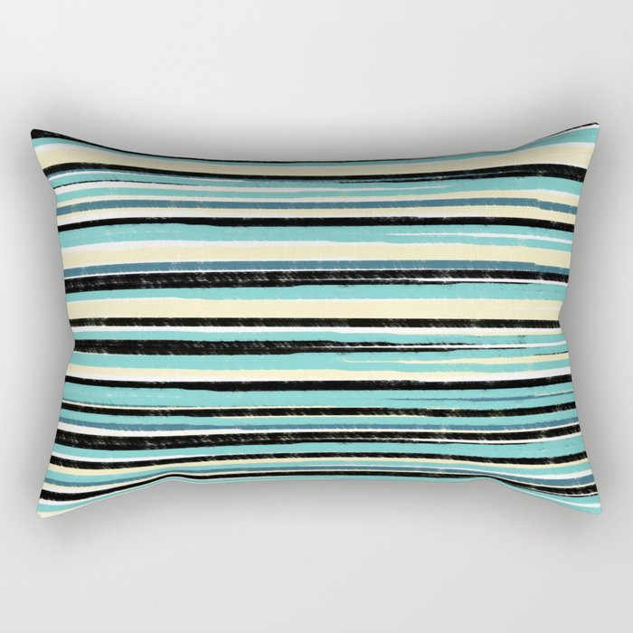 Boho Stripes Teal Blue Yellow and Black Rectangular Pillow by fruitflypie