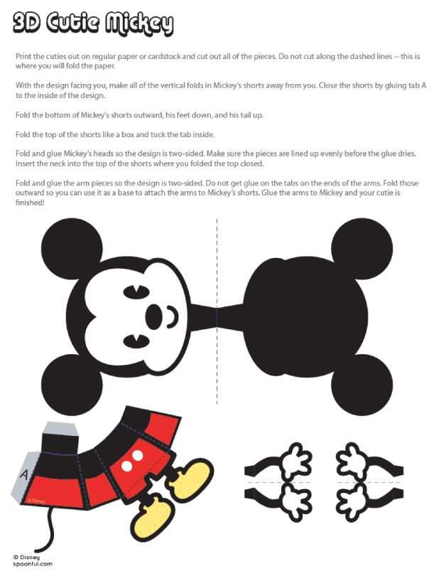 cutie mickey  u0026 minnie papertoys