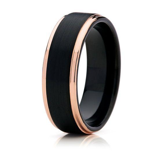 Black With Rose Gold Tungsten Mens Wedding Band Tungsten Wedding
