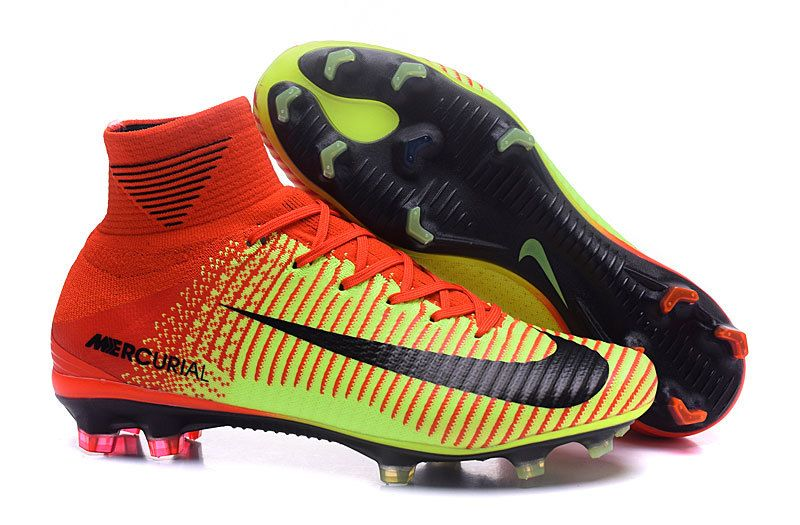 Nike Mercurial Superfly V FG Red Yellow Black Men Flyknit Soccer Shoes