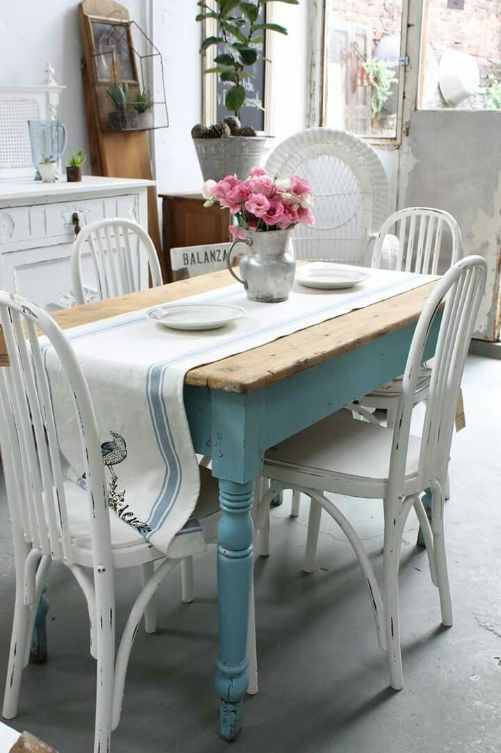 shabby chic dining room furniture | Pin by Dawn Bitetto on beachy in 2019 | Painted dinning ...