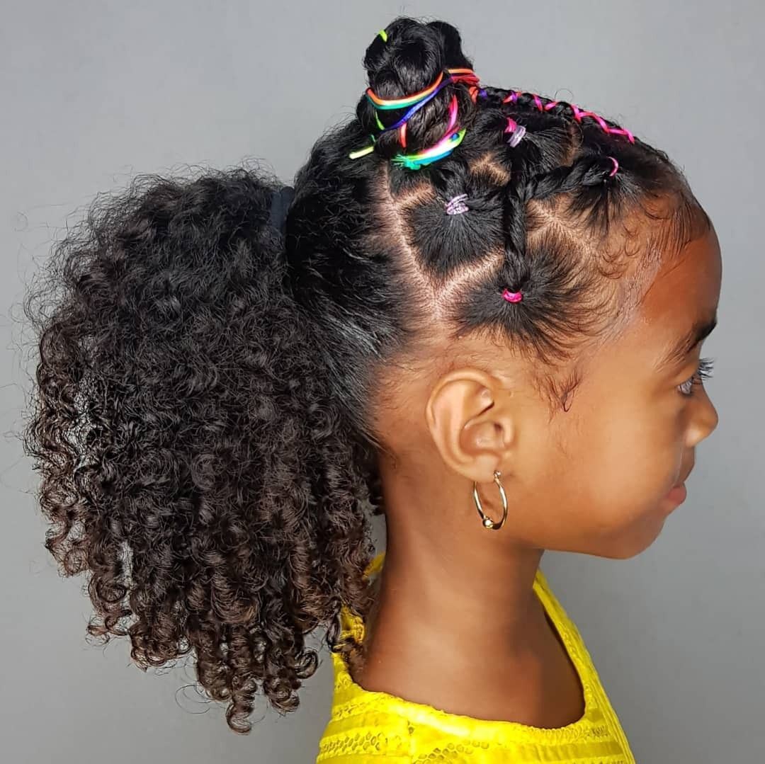 Rsinbow Buns And Ponytail Hairstyles For Curly Little Girls With