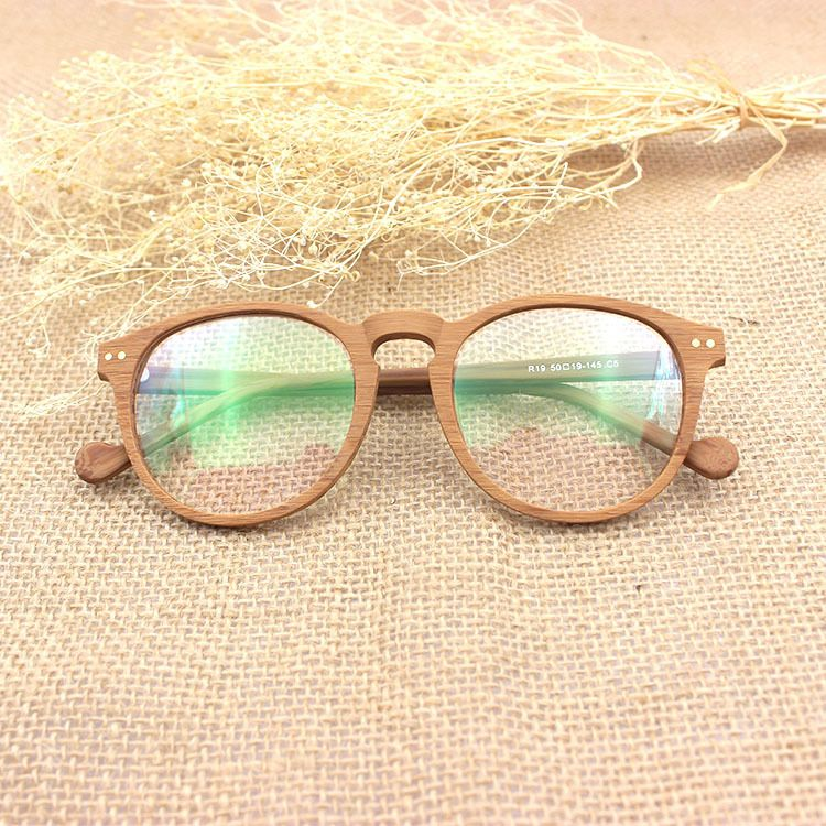 high end wood glasses frame men women retro round clear optical glasses vintage spectacle frames eyeglass - Wooden Glasses Frames