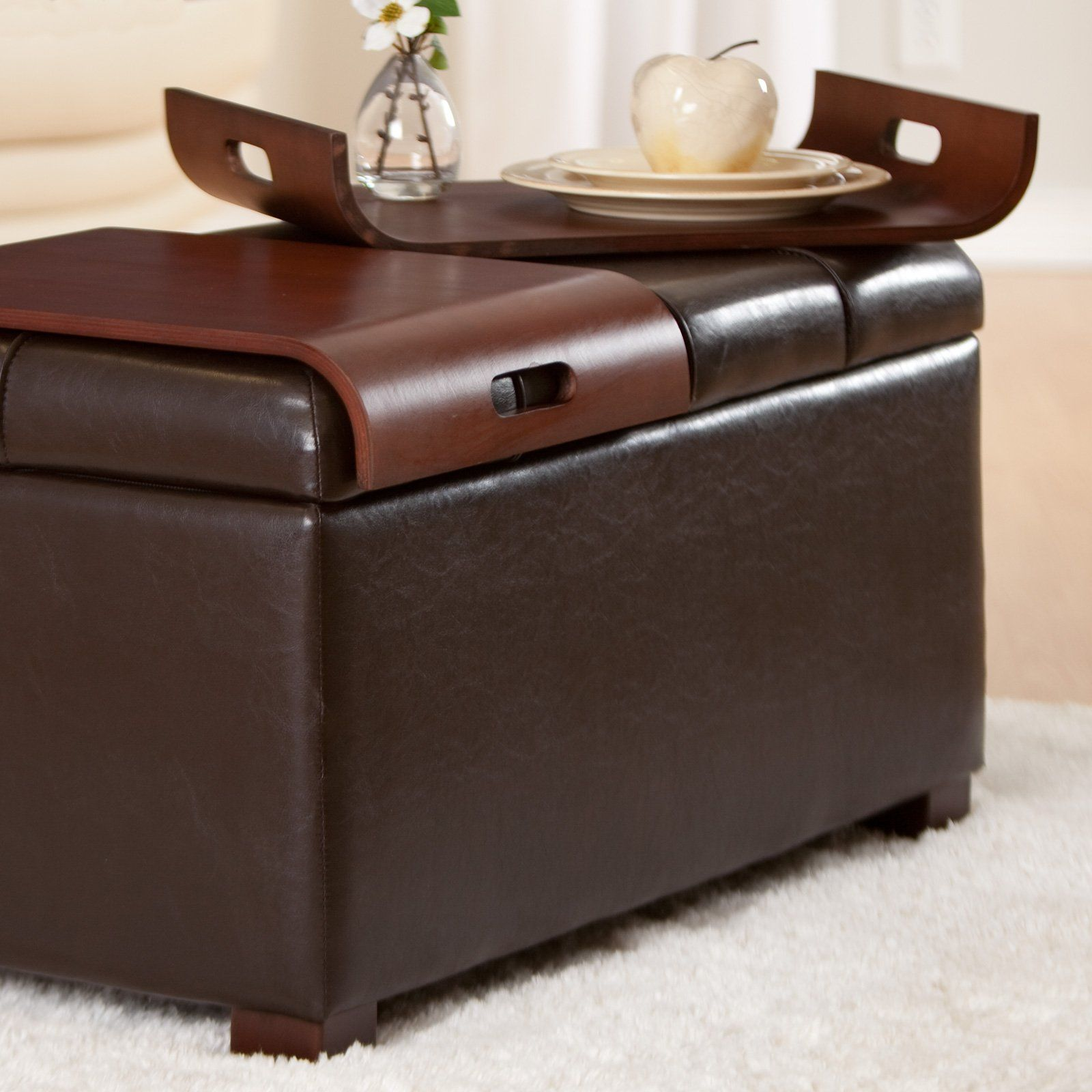 Livingston Storage Ottoman with Tray Tables. Loving the built in ...