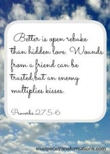 Proverbs 27:5-6 Better is open rebuke than hidden love. Wounds from a friend can be trusted,but an enemy multiplies kisses. (NIV)