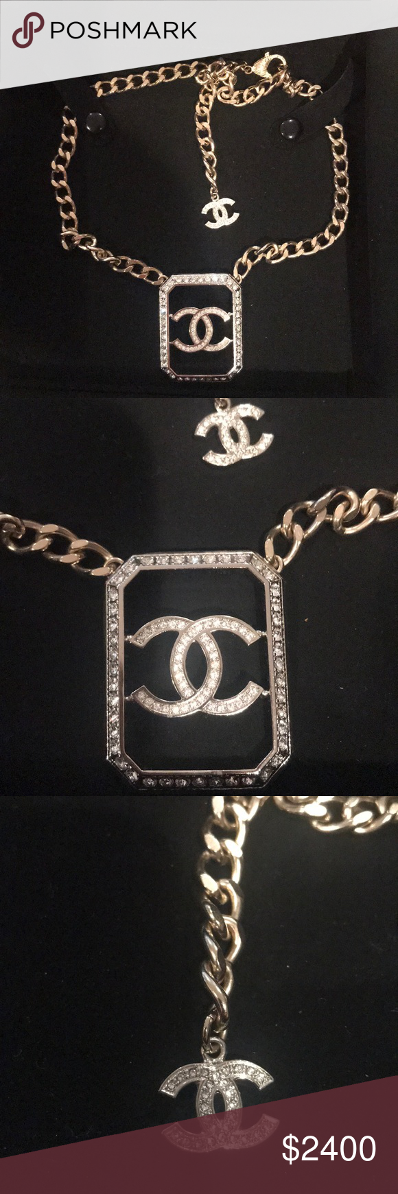 CHANEL AUTHENTIC Logo necklace! CHANEL NECKLACE with large
