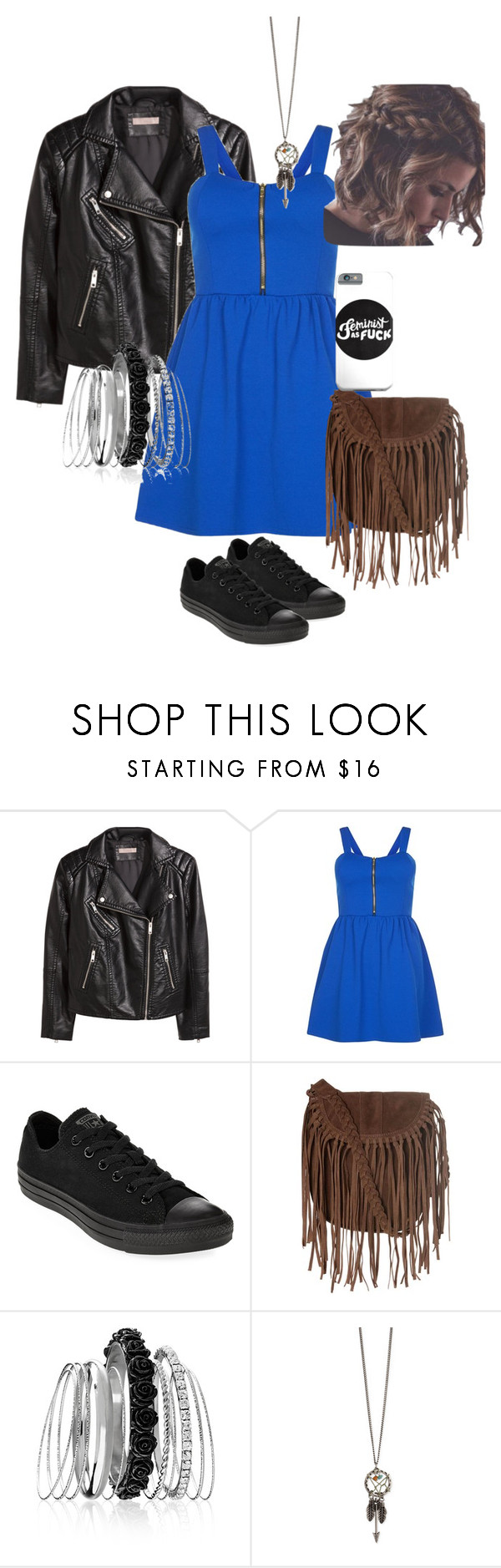 """""""One fave"""" by selenakellylolljee on Polyvore featuring H&M, Cameo Rose, Converse, Glamorous and Avenue"""