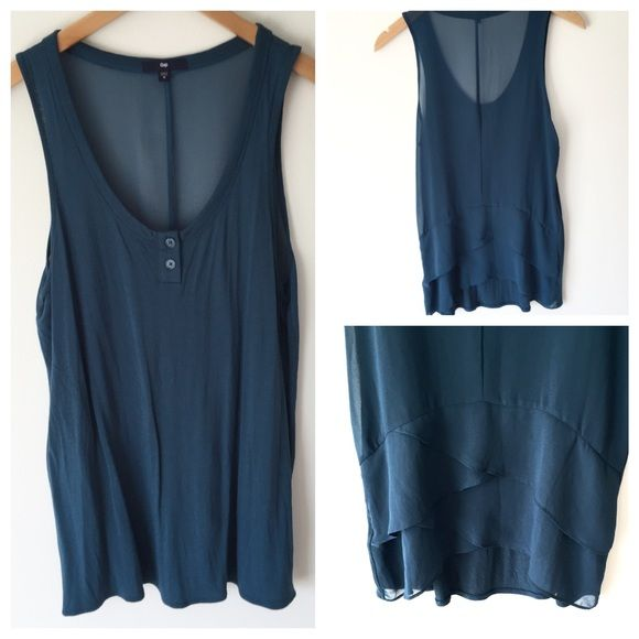Turq sheer back ruffle tank. teal sheer back tank from Gap.  adorable ruffle lower back detail.  cute button chest front.  100% non sheer front panel, 100% polyester back panel.  never worn, new with out tags, size m. GAP Tops Tank Tops