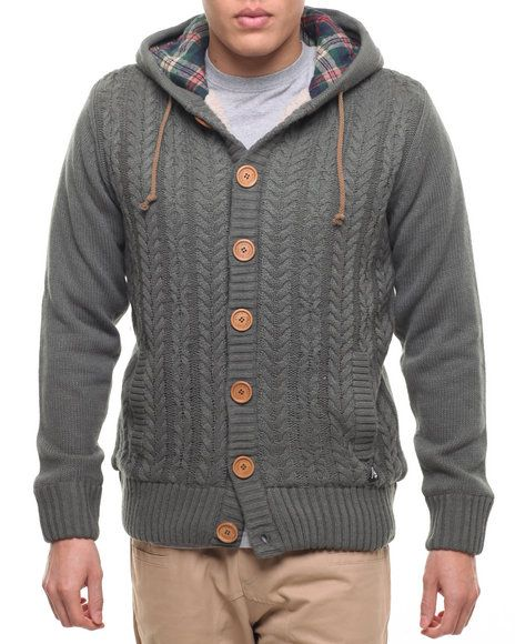 Find American Stitch Cable - Knit Button Up Hooded Sweater Men's ...