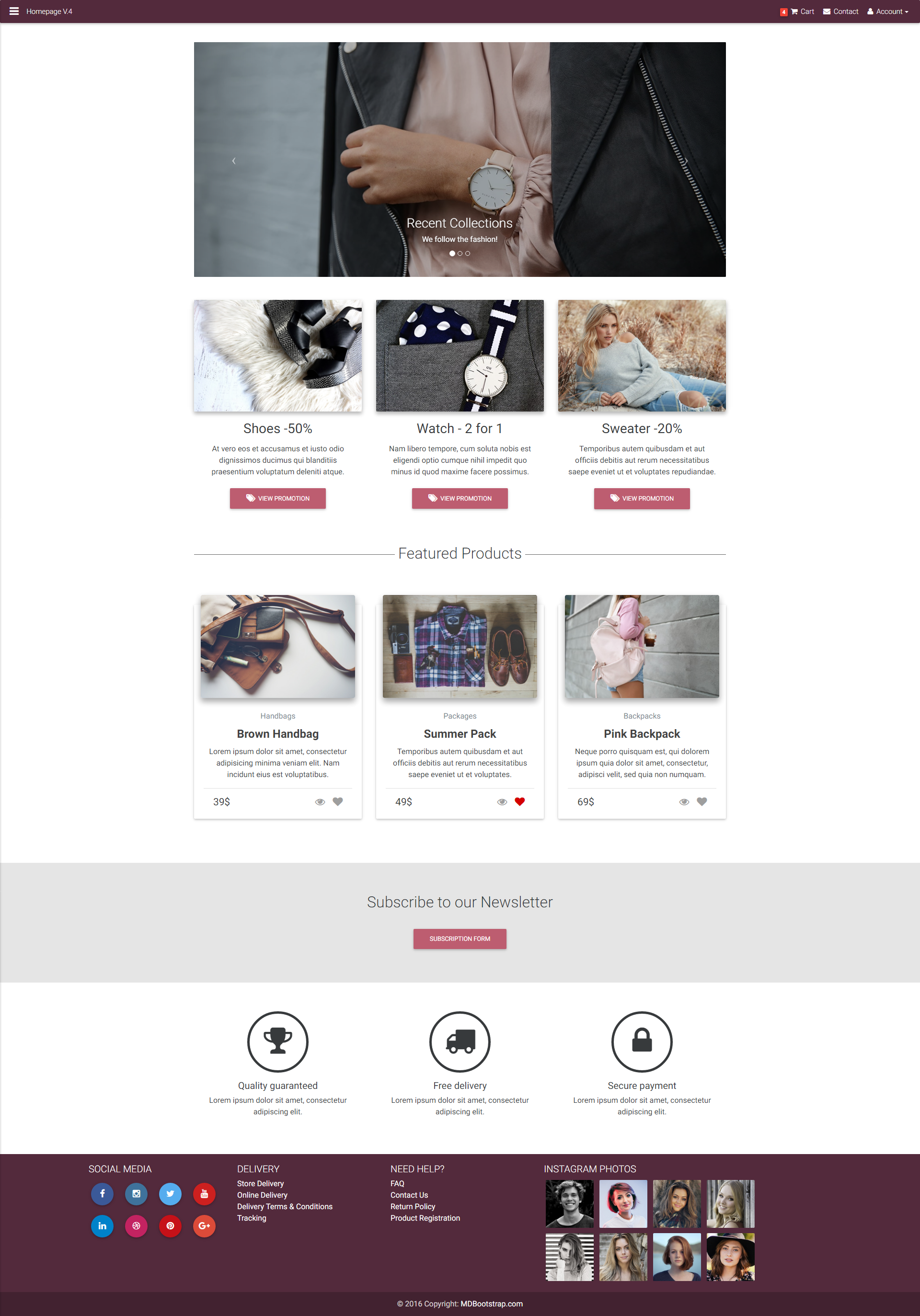 E Commerce Homepage Template Created With Material Design For