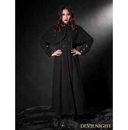 Black Gothic Long Coat With Cape For Women $199.00 | Odd Fashion ...