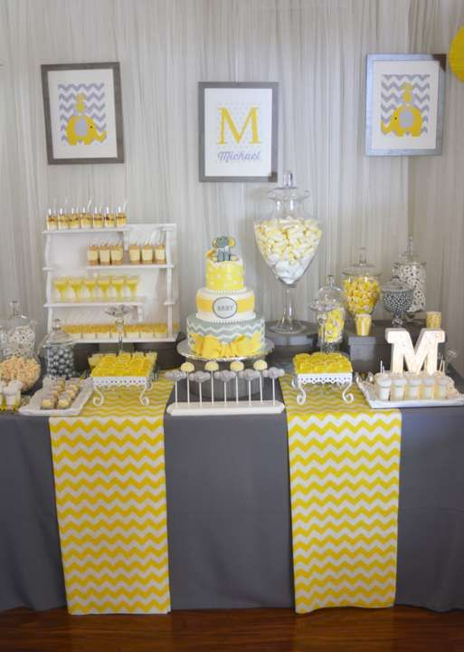Modern Chic Elephant Baby Shower | CatchMyParty.com