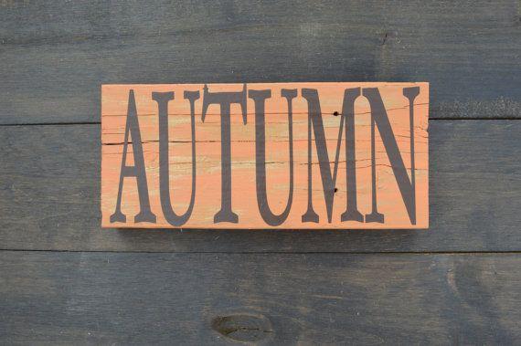 Autumn Free Standing Wood Sign Home Decor Thanksgiving Fall Orange