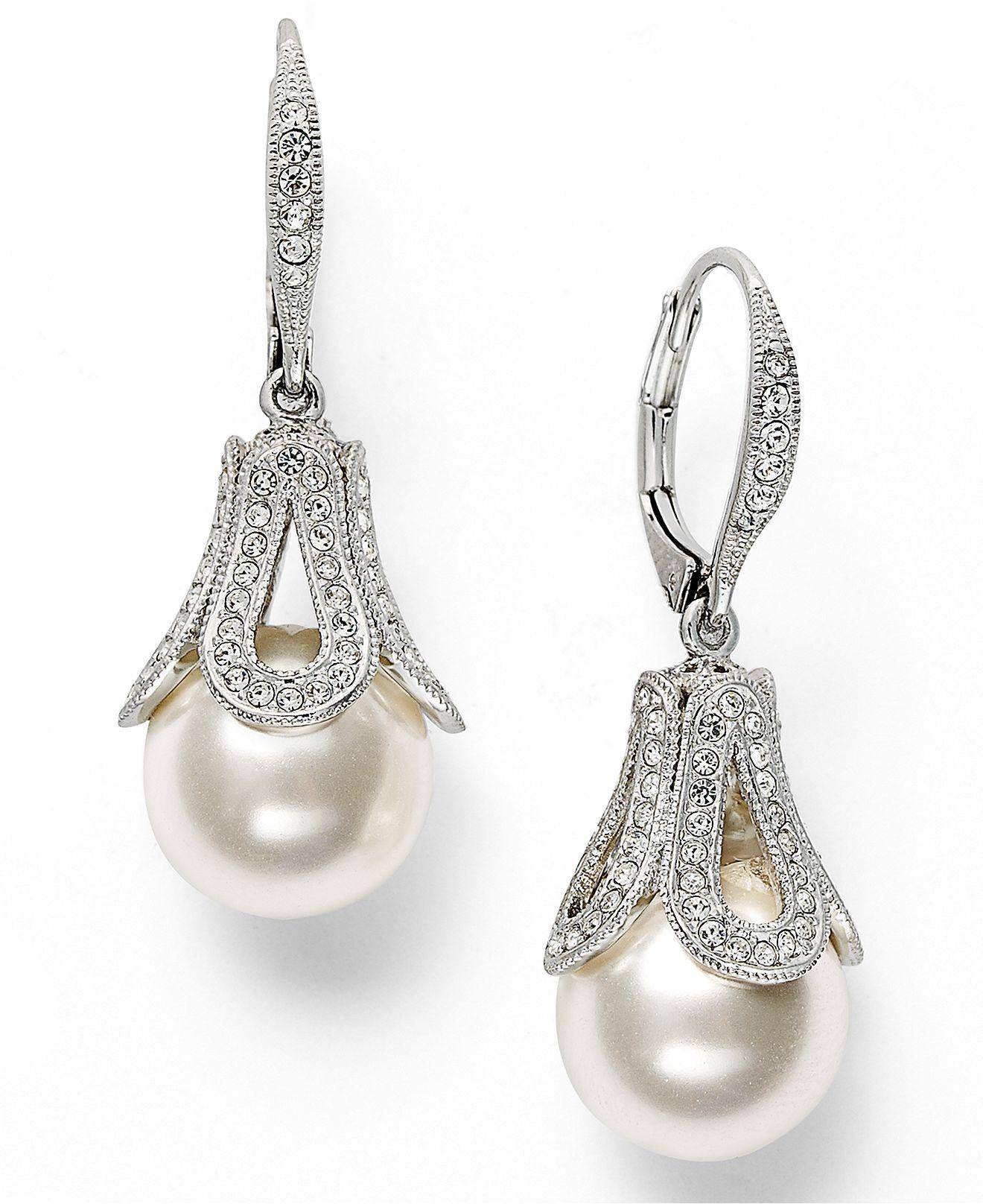Eliot Danori Earrings, Silvertone Simulated Pearl And Crystal Teardrop  Earrings   Macys