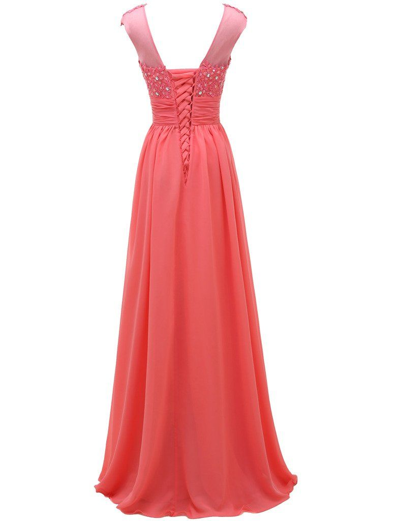 Pretygirl womens lace long prom evening dress gown a line bridesmaid