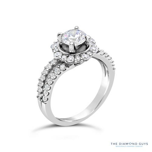 Diamond Halo Engagement Ring Setting - The Diamond Guys Collection  Center Diamond Cut: Round Brilliant Cut  Side Diamonds: 44 (weight = 0.68ct)