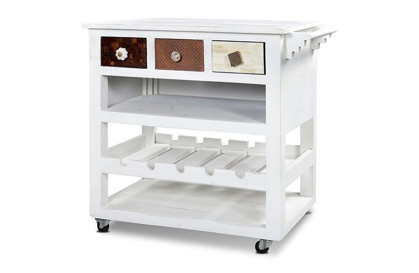 Küchenwagen Milky - Mango/MDF mit Messing/Metall/Kupfer/Coconut ... | {Küchenwagen 18}