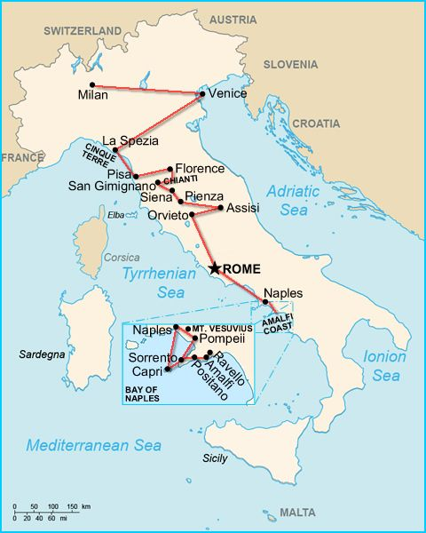 Italy 2 Week Itinerary With Tuscany Map Ct And Tuscany