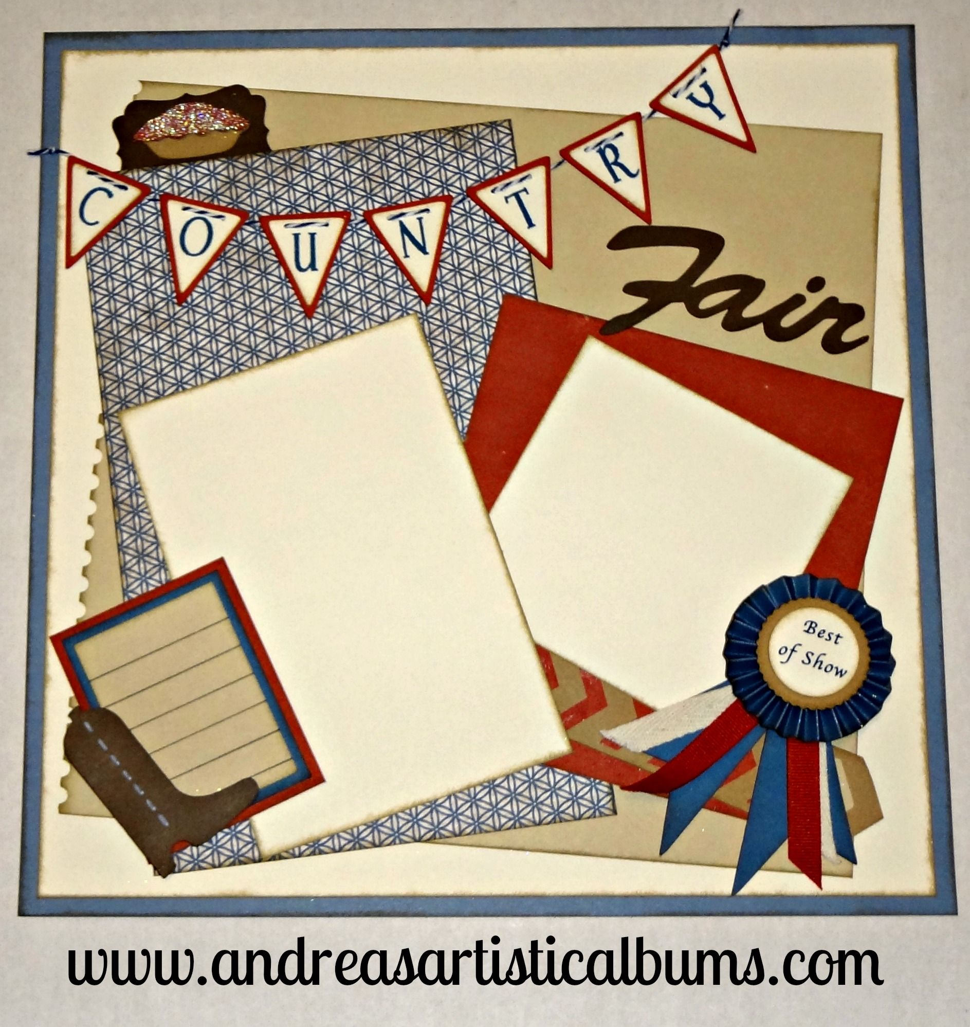 Scrapbook ideas with ribbon - Country Fair Pre Made Scrapbook Page Blue Ribbon Best Of Show