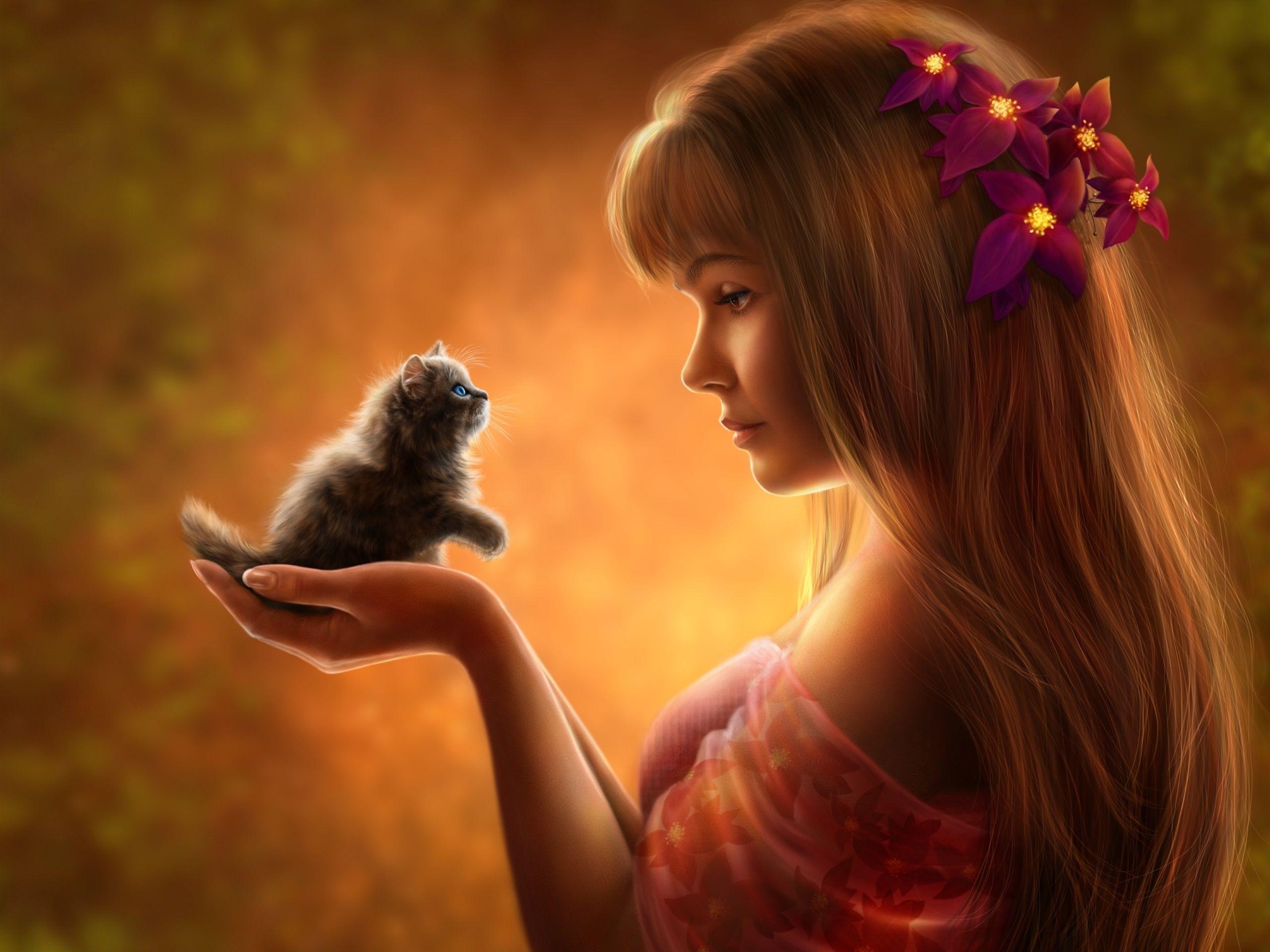 Hermosa chica de fantasía con el gatito Fondos de pantalla - 2560x1920
