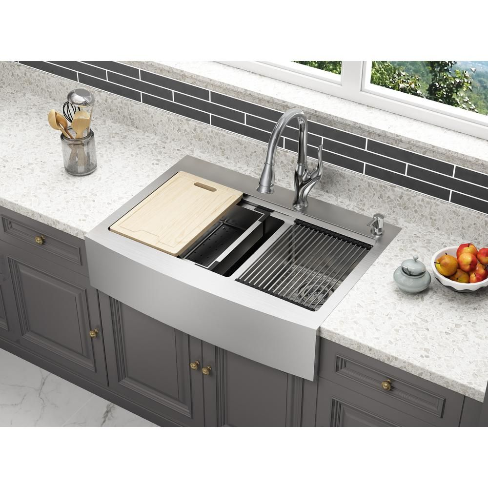 Cmi Blanchard Retrofit Workstation Dual Mount Stainless Steel 33 In 2 Hole 60 40 Double Bowl Front Apron Kitchen Sink 482 6997 The Home Depot Apron Sink Kitchen Outdoor Kitchen Countertops Outdoor Kitchen Cabinets