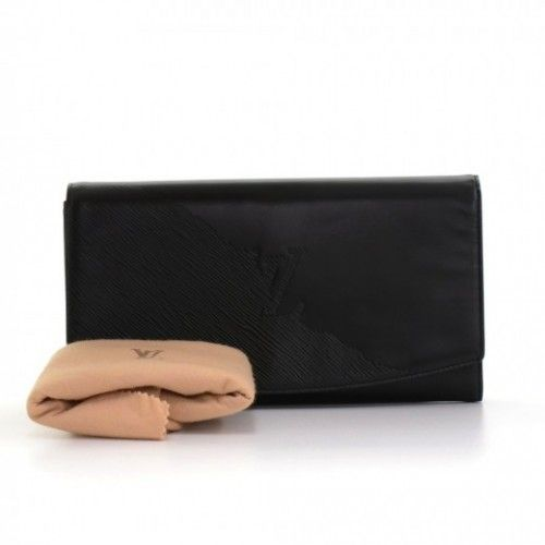4d35ad15f62c Authentic Louis Vuitton Opera Egee clutch bag in black epi leather. Top is  closed with