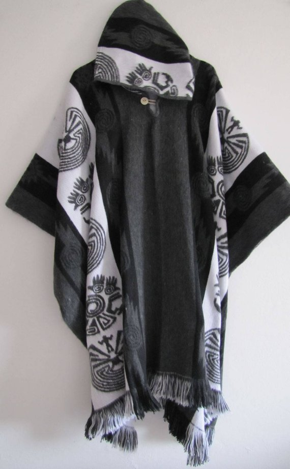 Poncho with Hood Wool Gray Black Coat Mens Cape Indigenous Native