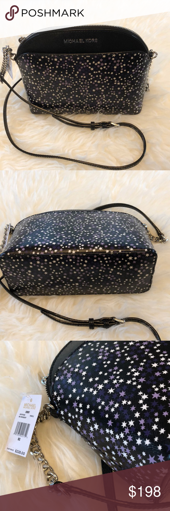 43964f90d09540 Michael Kors Emmy Black w/ Purple Stars Crossbody Super fun. New with tags.  Emmy - Black with purple and white dome style crossbody purse.